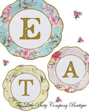 Alice In Wonderland Tea Party Themed Small Plates Vintage Shabby Chic Hen Baby