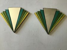 Art Deco mirrors pair fan shape Handcrafted metallic Design home decor