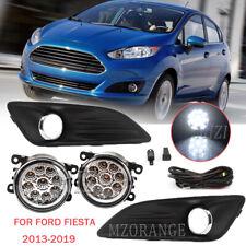 For 2013-2019 Ford Fiesta Bumper Fog Light Lamp &Cover Grille Black & Wiring Kit