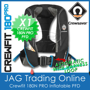 CREWSAVER 180 PRO AUTOMATIC & HARNESS PFD - CREWFIT 180N INFLATABLE LIFE JACKET