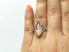 NATURAL 14K WHITE GOLD PAVE DIAMOND WHITE CLEAR TOPAZ COCKTAIL HALO RING