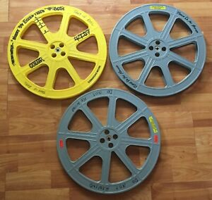 3 - 2000 ft 16mm Plastic Film Movie Reels - Take Up Reels Gray & Yellow