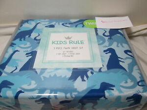 Kids Rule Twin Sheet Set DINOSAURS ~ Blue and Dark Blue  NEW