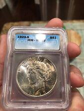 1923-S ICG MS63 Silver Peace Dollar Coin Toned S$1 San Francisco