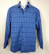 Men's Banana Republic Slim Fit Blue Plaid Button Front Shirt Size L