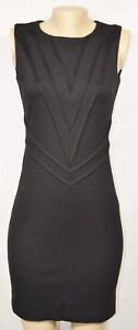 KENAR Black Sleeveless Sheath Dress 4 Pleated Seam Accents in Front Unlined