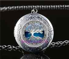 Celtic Blue Tree Of Life Glass Tibet Silver Chain Locket Pendant Necklace