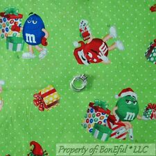 BonEful FABRIC FQ Cotton Quilt Green White Red MM's Candy Holiday Xmas Dot Retro