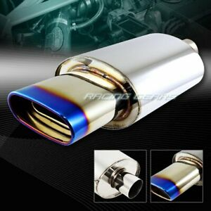 """5.5"""" Euro Oval Burnt Tip T-304 Stainless Exhaust Muffler 2.5"""" Inlet Universal 4"""