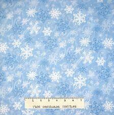 "Christmas Fabric - Snowflake & Swirls Light Blue - Timeless Treasures 23"""
