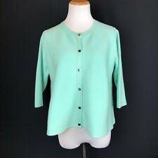 Karen Millen Knitted Round-Neck Cardigan Mint Green Snap Buttons Size L