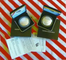 TWO SILVER UNCIRCULATED BASSBALL CURVE DOLLARS COA & OGP BABY RUTH &GARY COPPER