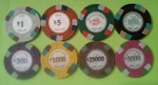 8 MOUNTED KNIGHT ON HORSE WITH SHIELD & SWORD LOGO POKER CHIP SET NEW!