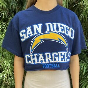 San Diego Chargers NFL Navy short sleeve cropped crewneck Tee
