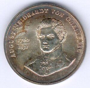 Old East German Medal August Neidhardt von Gneisenau Price - 1000 Silver Punze