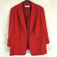 Tahari ASL Red Notch Collar Business Blazer Jacket  Womens 14W