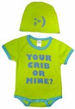 "Sozo Baby Boy ""Your Crib Or Mine?"" Bodysuit & Cap Set Green Blue Size 3-6 Months"
