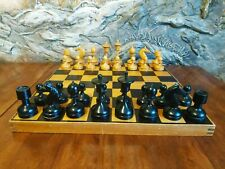 Wooden old chess set 1964 made vintage USSR white black chessmen pieces soviet