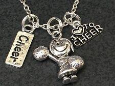 "Cheerleader Love to Cheer Girl  Charm Tibetan Silver 18"" Necklace BIN"