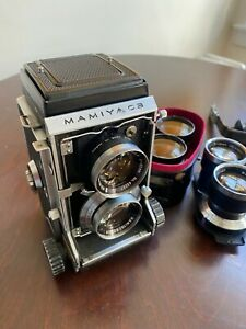 Mamiya C3 Professional Twin Lens TLR Film Camera Body W/3 Lenses