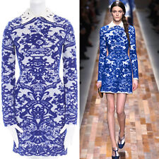 runway VALENTINO wool blue oriental china jacquard embellished collar dress S