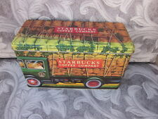 "Starbucks Coffee Harvest Truck Tin Box Canister 8.5"" Silver Crane Carter England"