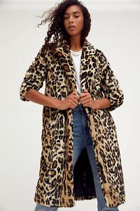 NWT Free People Chloe Leopard Faux Fur Duster Coat Jacket S $298