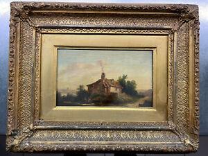 Charming English Dutch Landscape Oil Painting on oak panel Nice frame 12x20cms