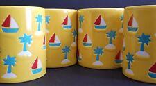 WAECHTERSBACH YELLOW COFFEE MUGS SET 4  NAUTiCAL SAIL BOATS PALM TREE W. GERMANY