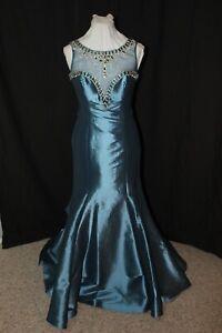 NWT Size 8 Steel Blue taffeta beaded fit n flair evening gown, Tiffany 16094