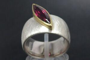 Ring 925 Sterling SILBER 750 GOLD 18 Karat Rhodolith Designer bague anello