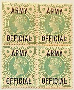 Army Official  ½d SG 042 Blue-Green MNH Mint Block Of Four Stunning