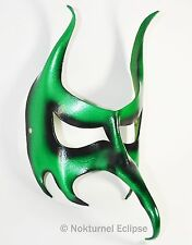 Green Masquerade Leather Mask Goblin Devil Halloween Cosplay Costume Unisex