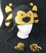 BUMBLEBEE HAT Knit ADULT bumble bee animal Unisex SKI CAP costume FLEECE LINED