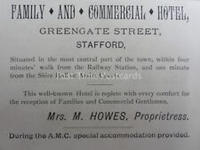 Stafford - Mrs Howes FAMILY & COMMERCIAL HOTEL Greengate St. 1886 Antique Advert
