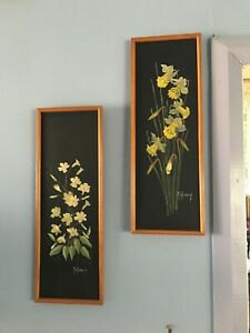 2 Vintage Original Mel Badenoch Oil Painting 70's Wide Flower & Daffodils