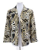 Kasper Open Front Blazer Jacket Shimmer Gold Black White Sz 12P 12 Petite Large