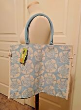 "ROCK FLOWER PAPER Cordoba Jute Canvas Side Tie Tote Bag NWT 14"" H x 18"" W"