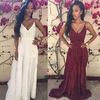 Hot Women Summer Boho Lace Long Maxi Evening Party Dress Beach Dresses Sundress#