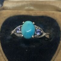 Vintage Sterling Silver Ring 925 Size 8.5 Turquoise Amethyst Signed STS