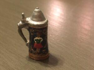 Vintage Dollhouse Miniature Artisan Painted Beer Stein Germany w/ lid