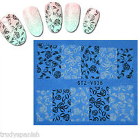 Nail Art Water Stickers Decals White Black Flowers Roses Lace Gel Polish (stz35)