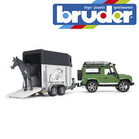 Bruder Land Rover Defender & Horse Trailer Kids Farm Toy Model Figure Scale 1:16