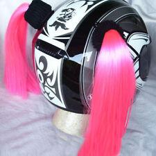 """PINK  Helmet Pigtails..(Pair) Motorcycle, Bike, .Helmet Hair  14"""" each  PINK"""