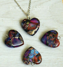 Purple Sea Sediment Jasper & Pyrite Heart Pendant Necklace Reiki  Ladies Gift