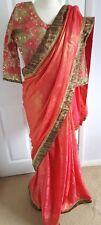 Diseñador indio paquistaní de Bollywood Sari étnico DESGASTE Fiesta Boda Sari