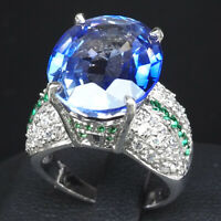 6.5 US size, 6x4mm oval 925 sterling silver with faceted cut stone Tanzanite ring #R8