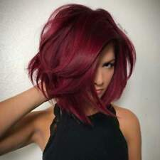 Women New Fashion Medium Hairstyle Ombre Dark Red Color Synthetic Hair Wigs