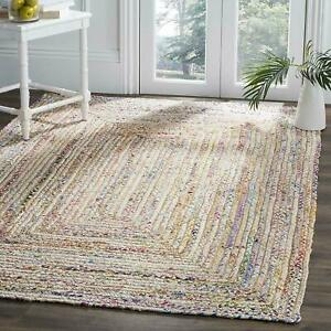 Indian Natural jute & cotton Rug Braided style Handmade vintage classic Jute Rug
