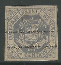 STAMPS-VENEZUELA. 1873. 1c Slate. Ovpt Contrasena-Estampillas de Correos. SG:74
